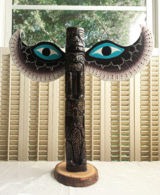 Handcarved Wood Totem Pole with Wings Artist Signed Frank Kim Winged in Oswego, Illinois
