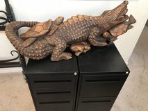 4ft Fused Crocodile, Turtles & Frogs Wood Carving-Moutego Bay, Jamaica in Chicago, Illinois