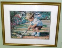 """Framed Golf Art ~ """"Just Like Dad"""" ~ Boy Golfing by Corinne Hartley in Orland Park, Illinois"""