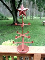 "primitive star 12 candle holder holds roughly 3/4"" candles metal cranberry! in Brookfield, Wisconsin"