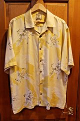 Tommy Bahama Pale Yellow Gold Silk Print Button Front Camp Shirt, Lg in Lockport, Illinois