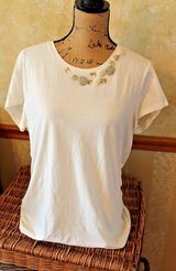 Eddie Bauer Creme SS Cotton Top w/Sequin, Beaded, Fabric Designs @Neckline, XL in Bolingbrook, Illinois