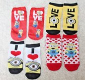 Adorable Toddler's Minion Ankle Footie Socks, 4 Pairs - NWOT in Bolingbrook, Illinois