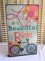 """""""Life is a Beautiful Ride"""" Wood Sign Wall Hanging Bike Bicycle Art in Oswego, Illinois"""