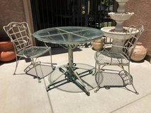 Vintage Wrought Iron Glass Top Distressed Patio Bistro Set in Fairfield, California