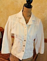 Sporty Coldwater Creek White Cotton Snap Front Jacket, 3/4 Sleeves, Size 8 in Westmont, Illinois