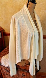 Ecru Multi-Texture Long Sleeve Open Front Drape High Low Cardigan, X-Small in St. Charles, Illinois