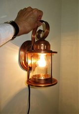 1940s Solid COPPER Electric SCONCE Light, Clear Glass Jelly Jar Shade in Brookfield, Wisconsin