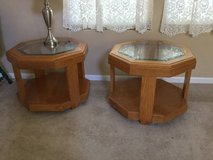 2 Oak end tables hexagon with beveled glass in Schaumburg, Illinois
