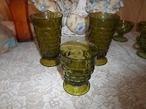 """3 pc Vintage Olive Green Indiana Glasses ( 2 Large + 1 Small)! Whitehall """"Colony"""" in Kingwood, Texas"""