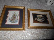 2) SIGNED BARBARA MOCK TEA CUP PRINTS! CUSTOM MATTED AND FRAMED! in Spring, Texas