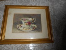 """(1) SIGNED BARBARA MOCK TEA CUP PRINT! CUSTOM MATTED AND FRAMED! GOLDTONE FRAME IS 9.5""""W X 11.5"""" in Spring, Texas"""