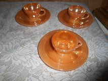 "Vintage Anchor Hocking FIRE KING Small 3 Tea Cups + 3 Saucers ""Peach Lustre"" 6pc set in Spring, Texas"