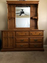 Solid Wood Long Dresser with Hutch Mirror in Fairfield, California