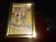 "Small Goldtone Framed Print: 'Red Hat Society Members"" Artist Signed 4"" x 6"" Picture in Spring, Texas"