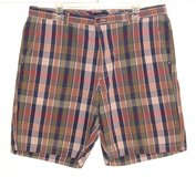 Club Room Plaid Shorts Tag 36 Measures 37 Blue Green Pink Salmon White in Chicago, Illinois