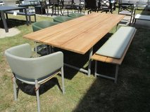 Teak Outdoor 9.5'L Table, Bench & 4 Chairs - Merchandise Mart Sample in Elgin, Illinois
