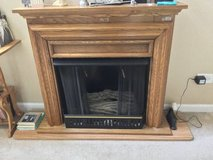 Oak Fireplace - real flames with screen and mantle in Elgin, Illinois