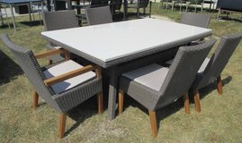 SALE Merch Mart Floor Sample - White Stone Topped Outdoor Dining Table and 6  Chairs in Aurora, Illinois
