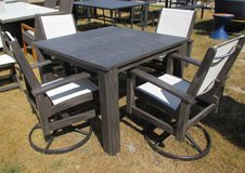 "SALE Merchandise Mart Floor Sample - ""Wood"" Outdoor Dining Table and 4 Swivel Chairs - in Aurora, Illinois"
