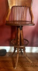 antique maple drafting draftsman chair swivel wood mortise tenion spindle back in Chicago, Illinois