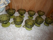 9pc Vintage Olive Green Indiana Glasses ( dessert and cups w/ handles)! in Spring, Texas