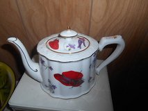 White Porcelain Teapot - Red Hat! Great condition with no chips, cracks, or scratching. in Spring, Texas