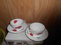 White Porcelain (2)Tea Cups and (2) Saucers - Red Hats! 4pcs Great condition with no chips, crac... in Spring, Texas