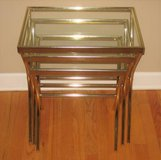 Gold Colored Metal and Glass 3 Piece Nesting Tables in Plainfield, Illinois