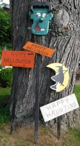 3 Halloween Yard Decor - Frankenstein - Witch Wood  Lawn Stakes in Bolingbrook, Illinois