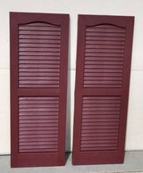 Louvered Vinyl Exterior Shutters Pair Burgundy Red - New! in Oswego, Illinois