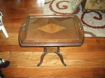 ANTIQUE ALL WOOD TABLE WITH A GLASS TOP USED FOR A SEVING TRAY in Tinley Park, Illinois