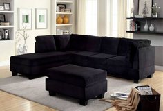 New Black Flannelette Fabric Sectional Sofa  FREE DELIVERY in Camp Pendleton, California