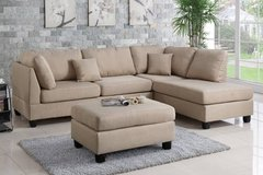 New! Beige Linen Sofa Sectional and Ottoman FREE DELIVERY in Camp Pendleton, California