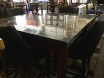Bistro Height Marble Topped Dining Table and Four Chairs - Delivery Av in Tacoma, Washington