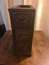 antique oak treadle sewing machine cabinet 3 drawers left side w/ frame in Joliet, Illinois