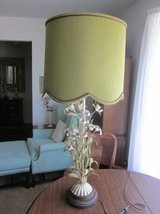 Italy Italian Tole Toleware Art Lamp Antique White Metal Flowers Green in Aurora, Illinois