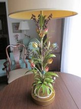 Italy Italian Tole Toleware Art Lamp Multicolored Metal Flowers VINTAG in Aurora, Illinois