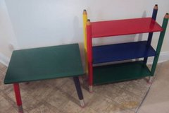 Bookcase and Matching Table - Cute Pencil Design in Primary Colors! in Wilmington, North Carolina
