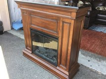Very Nice, Large Marble Topped Electric Fireplace Heater And Mantle in Tacoma, Washington