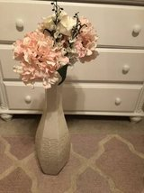 Pink floral decor white shabby chic metal vase in Kingwood, Texas