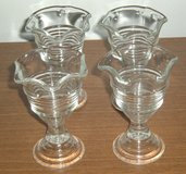 Vintage 4 Footed Dessert Cups Clear Glass Set Parfait IceCream Pudding Jello Lot in Chicago, Illinois