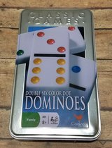 NEW Cardinal Double 6 Color Dot Dominoes in Tin Classic Game 16 Different Games in Joliet, Illinois