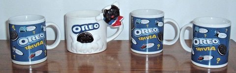 Lot of 4 Oreo Mugs 1 Large 3D Dipping 3 Trivia Nabisco Houston Harvest Kraft Cup in Morris, Illinois