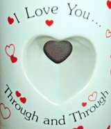 Vintage Papel I Love You Through and Through Cut Out Heart Shape Coffee Mug Cup in Morris, Illinois