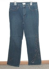 Womens 16 Coldwater Creek Studded Boot Cut Denim Jeans Womens 16 Stretch 16w in Morris, Illinois