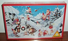 NEW Piatnik Christmas In The Snow 1000 Piece Jigsaw Puzzle Santa Skiing Sledding in Yorkville, Illinois