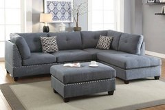 New! Linen Blue Gray Sectional + Ottoman  FREE DELIVERY in Camp Pendleton, California