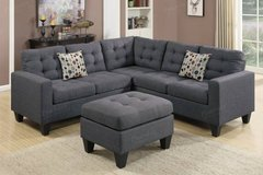 New Blue Gray Linen Sofa Sectional and Ottoman FREE DELIVERY in Camp Pendleton, California