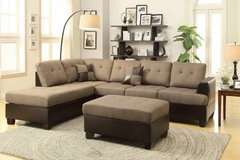 New! Tan Linen Sectional + Ottoman  FREE DELIVERY in Camp Pendleton, California